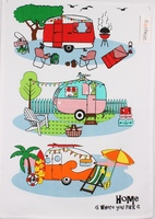Retro Caravans Cotton Tea Towel
